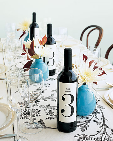 Have wine bottles do doubleduty as table numbers